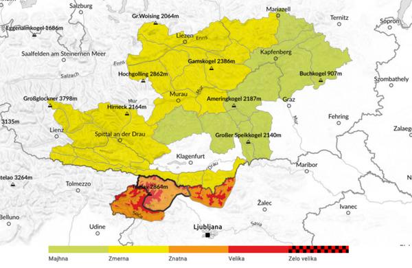 Poenotena opozorila pred snežnimi plazovi na avstrijsko-slovenskem čezmejnem območju